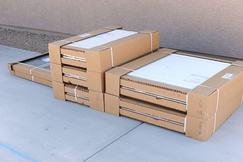 six flat boxes