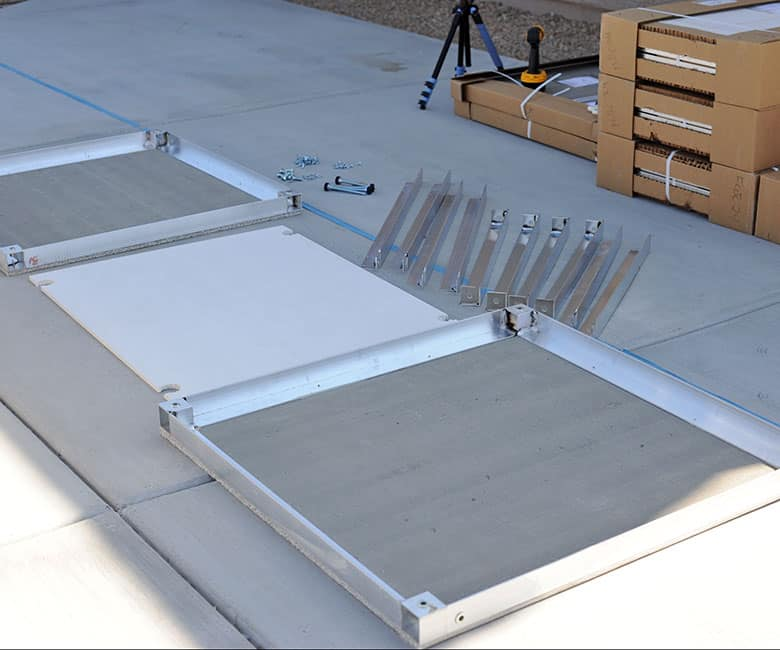 2 cement boards, solid bottom, rails and hardware