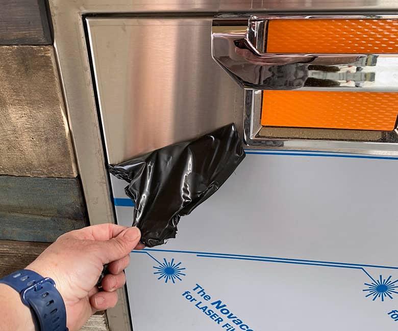peeling protective plastic off of Aspire accessory