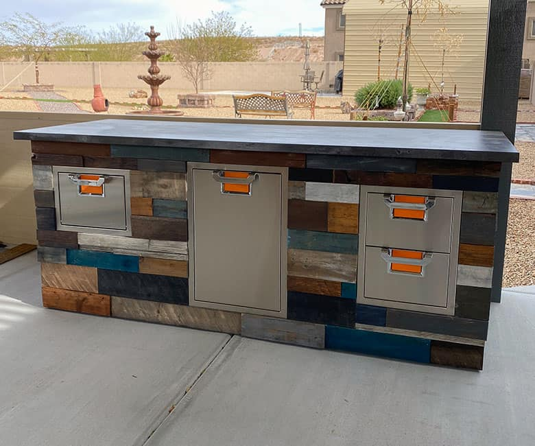 outdoor bbq kitchen with wood finish