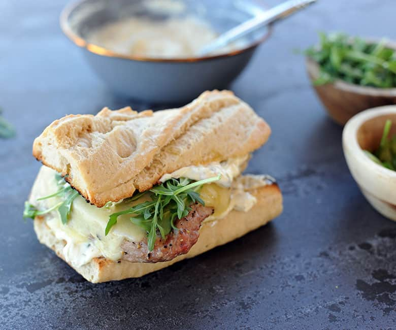grilled tuna on baguette with arugula