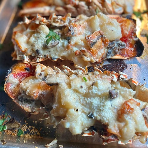 lobster tails with cheese sauce