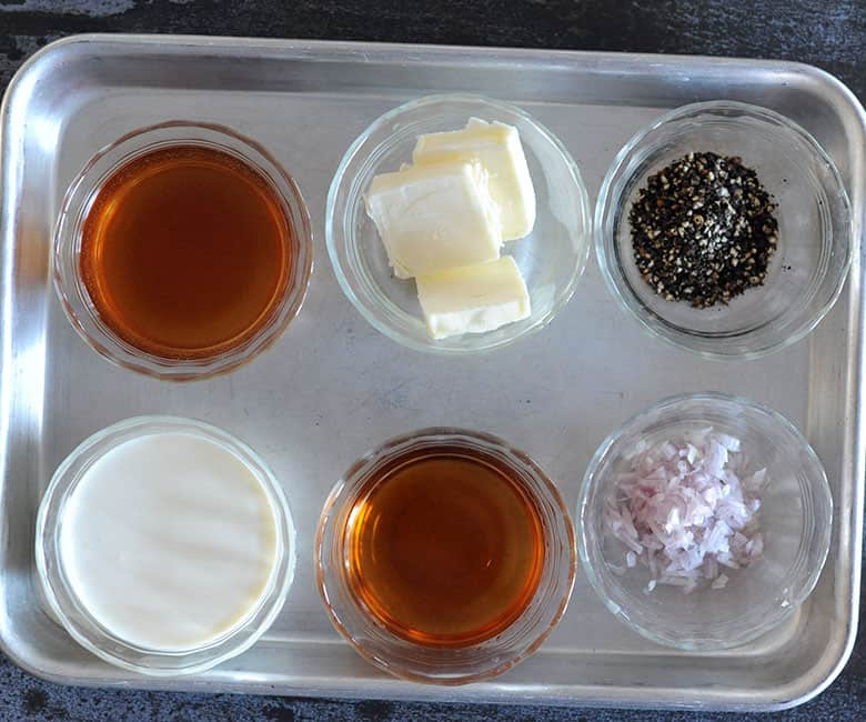 six glass bowls with ingredients