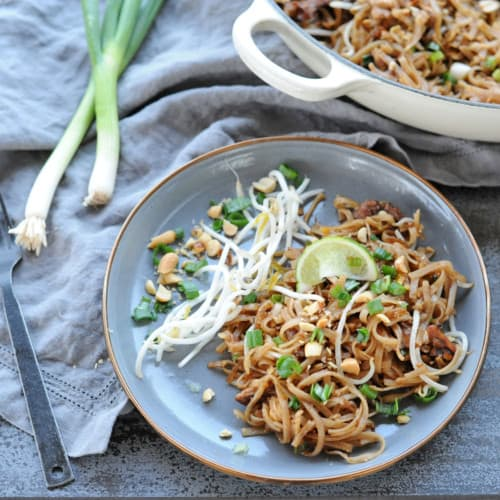 Grilled Pad Thai on a gray plate