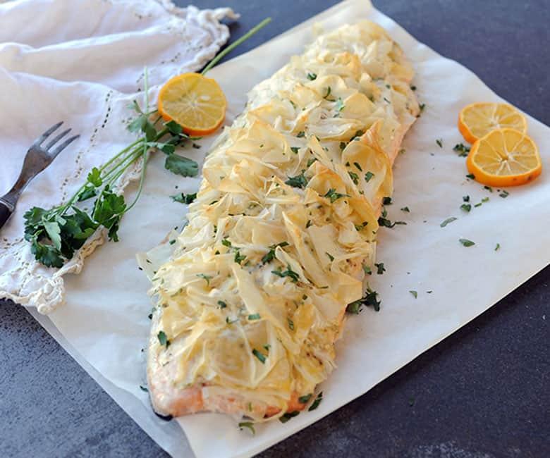 crispy grilled salmon on parchment paper