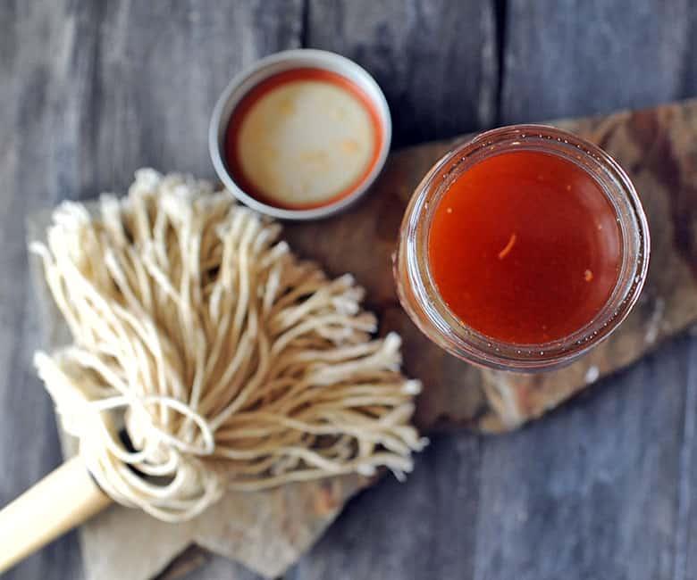 Carolina Vinegar Mop Sauce jar from top and mop