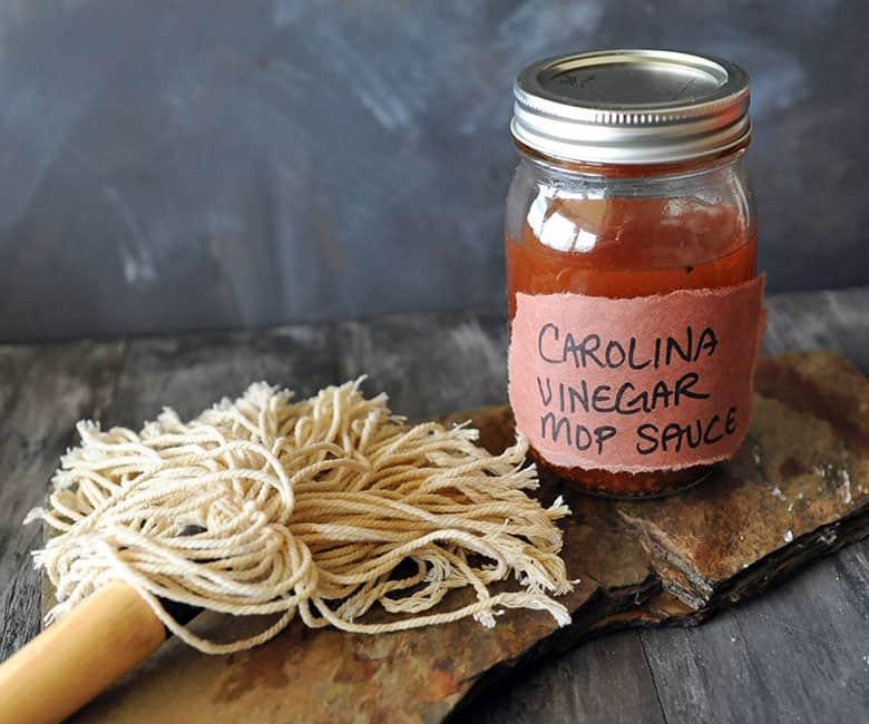 Carolina Vinegar Mop Sauce jar and mop