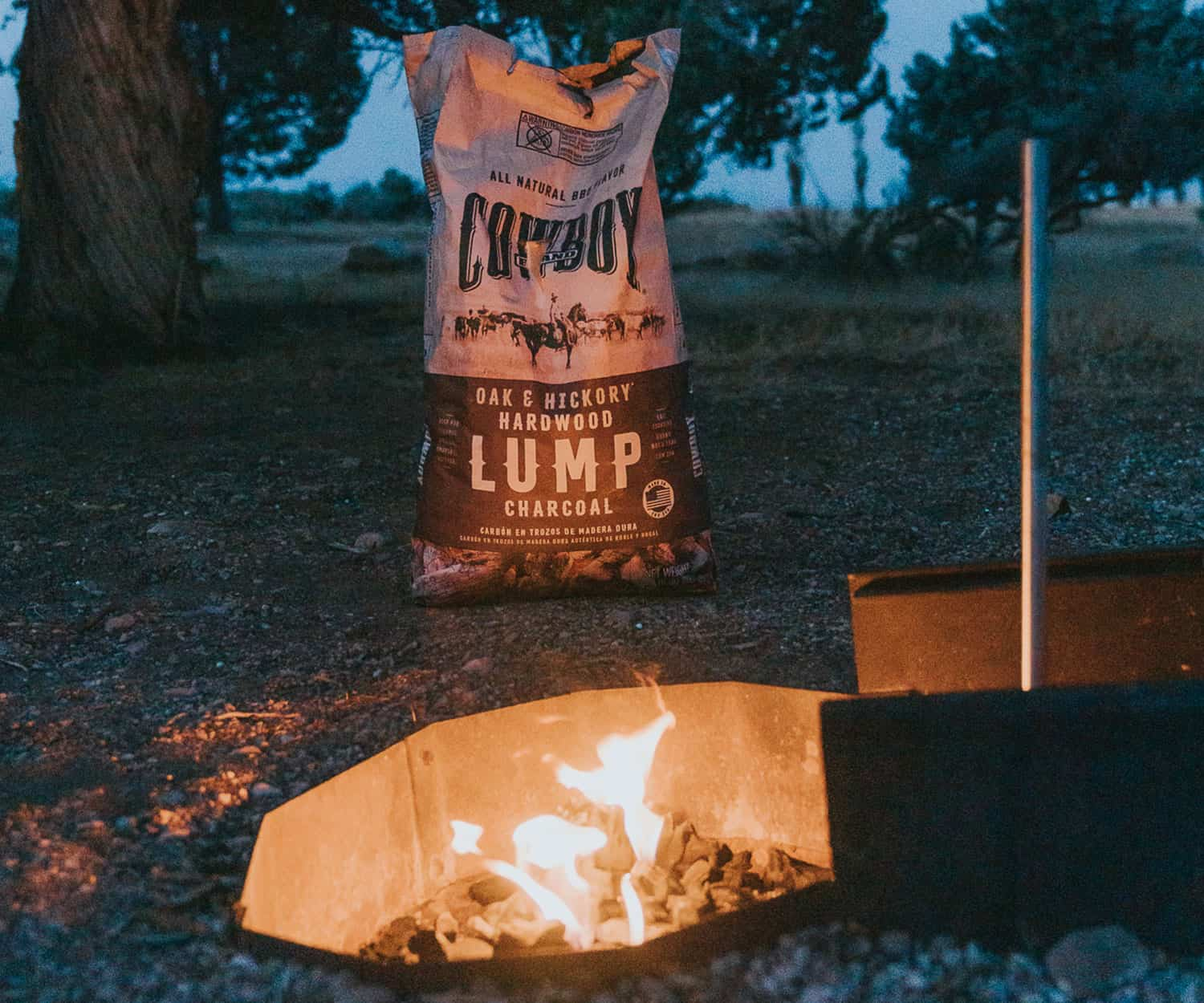 bag of charcoal by fire
