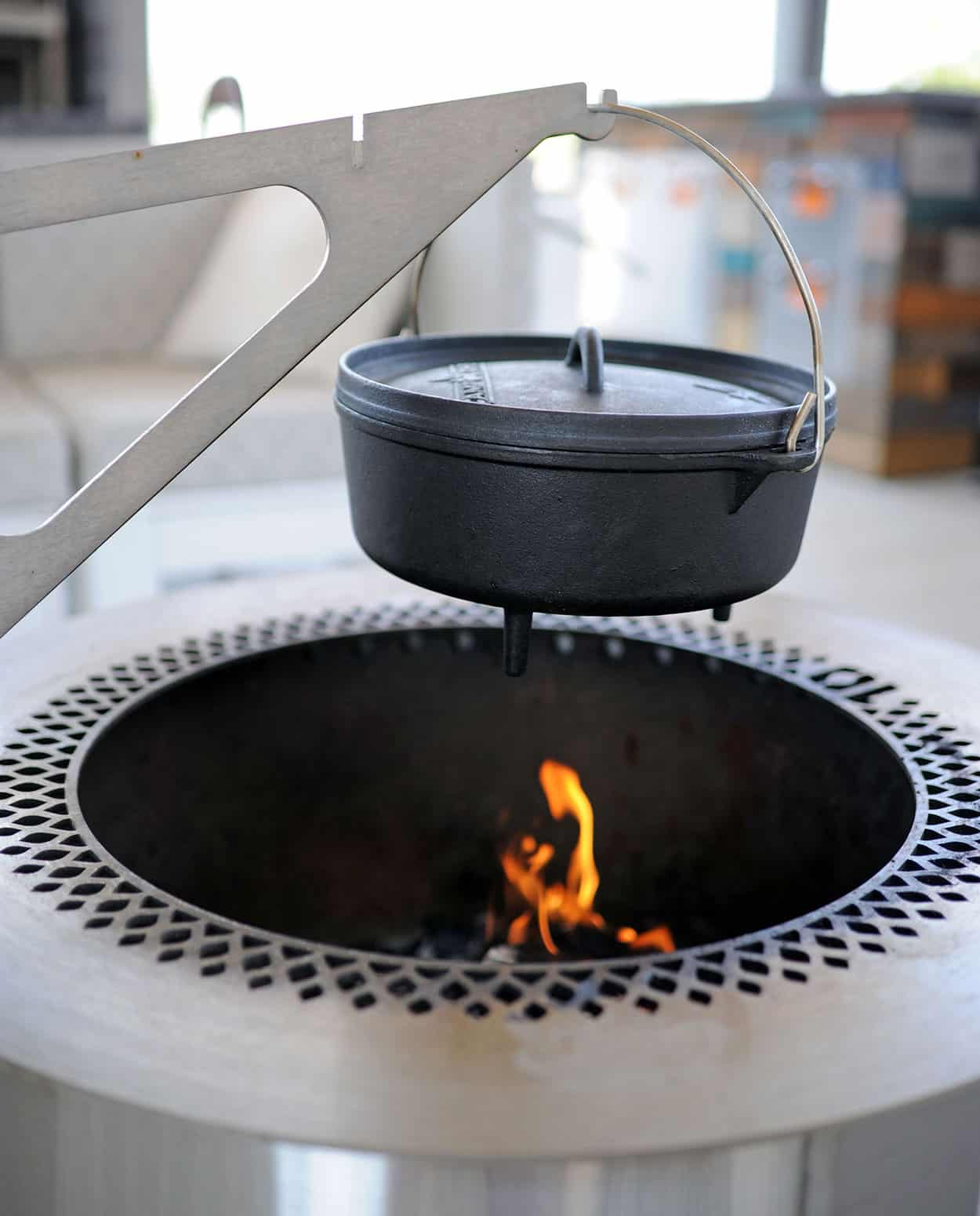 kettle hanging over Breeo fire pit