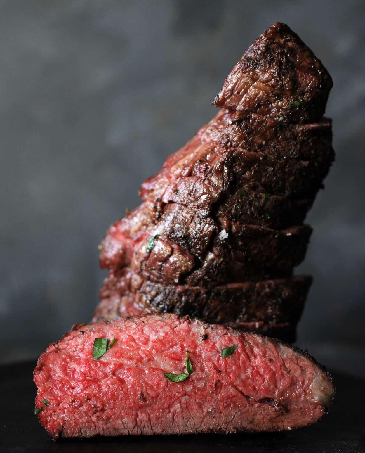 medium rare slice of tri tip steak