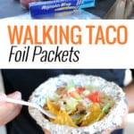 man holding walking taco foil packet