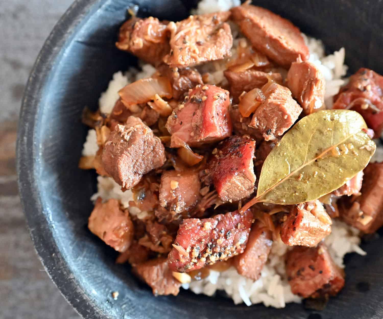 bowl of smoked pork adobo