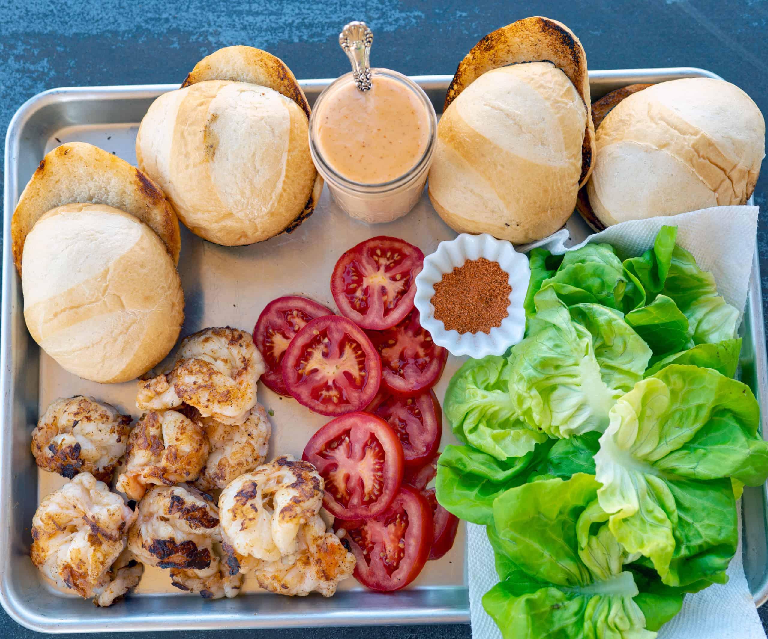 ingredients for smashed shrimp burger